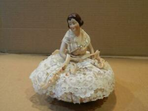 Bisque Woman Half Doll Pin Cushion Move-Able Arms Vintage