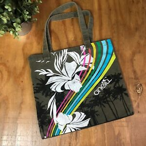 O'NEILL Surf Beach Bag 100% Cotton Tote Palm Tree Army Green Rainbow Purse