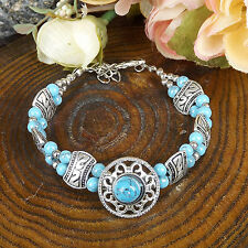 HOT Free shipping New Tibet silver blue jade turquoise bead bracelet S80