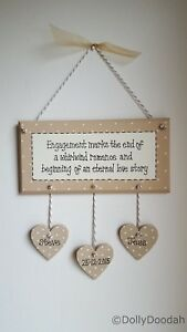 Personalised Soft Beige Engagement Whirlwind Romantic Plaque Gift Wedding Heart