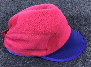 Vintage Patagonia Fleece Hat made in USA red purple medium