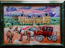 tableau peinture à l'huile art naif paysage avec château et personnages