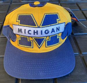 Vintage 90s Michigan Wolverines Fireball Fire Ball SnapBack Hat Cap