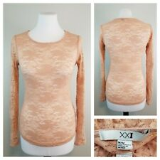 Forever 21 Jr M Blush Pink Fitted Stretchy Lace Top Long Sleeves