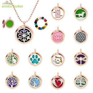 1pc Rose gold Necklace Aromatherapy Essential Oil Diffuser Locket Pendant + Pads