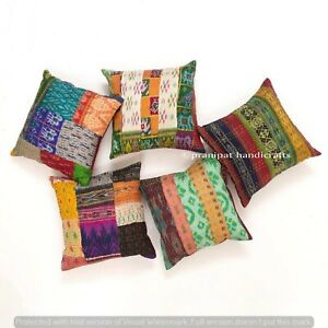Set of 5 Multi Silk Patola Patchwork Cushion Cover Home Decor Boho Pillow Cases