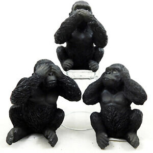 Three (3) Wise Apes Silverback Gorillas Figurine Ornament Statue Hear See Speak