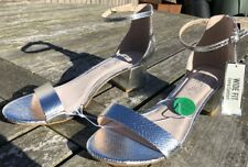LADIES SIZE9 WIDE FIT EXTRA COMFORT SEXY SILVER SANDALS WITH FAUX CROC DETAILING