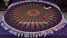 Indian Blue Peacock Mandala Throw Round Cotton Tapestry Wall Hanging Bedspread