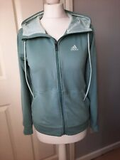 ADIDAS Size XS 6-8-10 Duck Egg Blue Climalite Soft Zip Through Hoodie Jumper