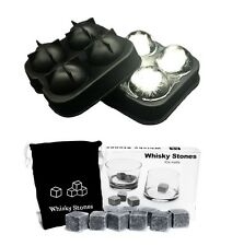 Combo 9 Whiskey Whisky Scotch Soapstone Stone Ice Cubes Rocks 4 Ball Mold Maker