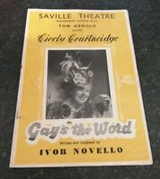 SAVILLE THEATRE LONDON GAYS THE WORD THEATRE PROGRAMME CICELY COURTNEIDGE 1952