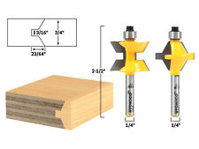 """Small 2 Bit Tongue and Groove Edge Banding Router Bit Set - 1/4"""" Shank - Yonico"""