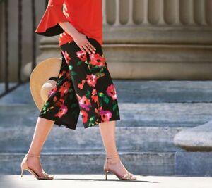Susan Graver Size XL Multi Floral Liquid Knit Pull-On Wide Leg Crop Pants