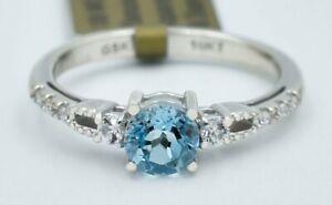 GENUINE 1.08 Cts BLUE TOPAZ , W/SAPPHIRE & DIAMONDS RING 10k WHITE GOLD ** NWT