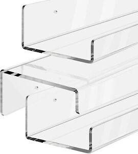 Set of 3 Acrylic Floating Wall Ledge Shelf 15 inch Clear Shelves Charming Design