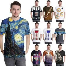 Fashion Men's 3D Printed Starry Sky T-shirts Short Sleeve Funny Tee Casual Tops