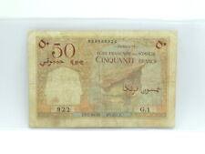 Rare LOW SERIAL NUMBER 1952 FRENCH DJIBOUTI SOMALIS 50 FRANCS Bank G.1 Note