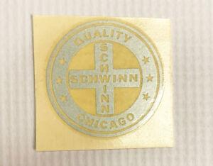 Vintage Schwinn Quality Chicago Round Silver Decal - Authentic - NOS