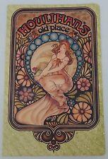 Vintage Menu Houlihan's Old Place Plantation, Floida W/Art Nouveau Mucha Artwork