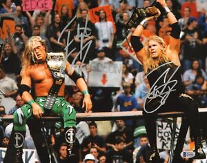 Edge & Christian Signed WWE 11x14 Photo BAS Beckett COA Belt Picture Autograph 1