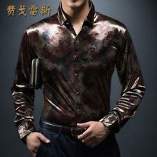 Men Luxury Casual Business Highquality Stand Collar Silk Print Leopard Shirt New