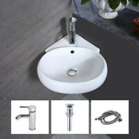 Bathroom Corner Ceramic Vessel Sink Wall Mount Porcelain Basin Bowl Faucet Combo