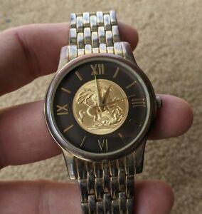 Serrato Vintage Gold Coin Watch Stainless Steel Men Water Resistant Quartz WORKS