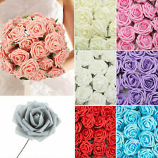 50pcs Artificial Flowers Foam Rose Fake Flower With Stem Wedding Party Bouquet