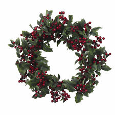 "Artificial 24"" Red Holly Berry Classic Christmas Holiday Wreath"