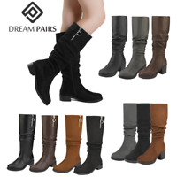 DREAM PAIRS Women's Classic Suede/PU Slouchy Low Heel Knee High Boots Size 5-11