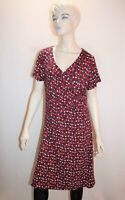 W.LANE Brand Red Multi Wrap Front Short Sleeve Day Dress Size M LIKE NEW #AN02