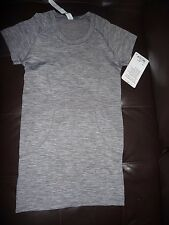 Lululemon Swiftly Tech SS Crew SLATE/WHT sz 6 NWT -NO NY SHIP