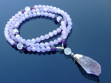 More details for amethyst crystal natural gemstone mala necklace prayer healing chakra 108 beads