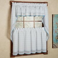 Adirondack Cotton Kitchen Window Curtains - White/Blue - Tiers, Valance or Swag