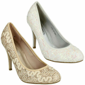 F9R603 LADIES SPOT ON SLIP ON SPARKLY LACE EVENING HIGH HEEL WEDDING COURT SHOES