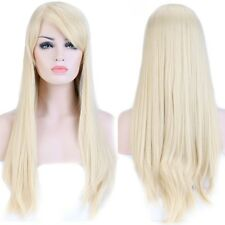 "23"" Long Hair Full Wigs Natutal Straight Women Daily Party Dress Bleach Blonde"