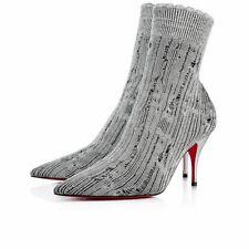 Christian Louboutin Sandrine 80 Silver Stretch Sock Kitten Heel Ankle Boot 40