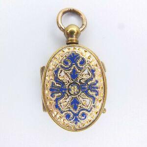 Lovely Small Antique Victorian Locket Engraved Ornate Enamel & Gilt Locket