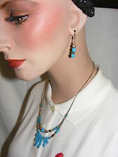 Vintage Turquoise Beaded Necklace Bracelett Earrings Liquid Silver