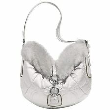 Coach L Silk SIGNATURE C SKI HOBO BAG PURSE QUILT WHITE RABBIT FUR SHOULDER New