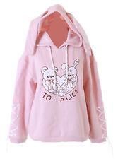 TS-244 Rosa Bär Hase Bunny Grafik Ohren Kapuze Hoodie Sweatshirt Pastel Kawaii