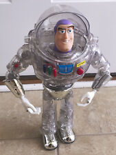 Vintage Toy Story Buzz Lightyear Disney Pixar Clear Plastic Suit Thinkway 12""