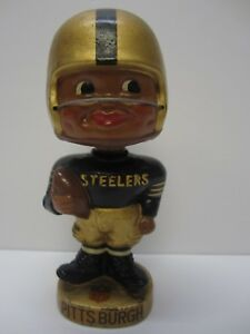 Vintage Pittsburgh Steelers 1962 RARE Football Gold Base Black Face Bobblehead