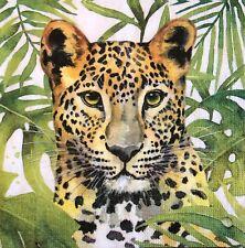 2 single paper napkins decoupage collection Servietten Jungle Leopard animals