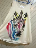 Luxurious Cream Vests Various Designs - Art Holiday Animals Cute Tshirt Fit 8-12