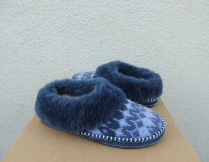 UGG NAVY BLUE WRIN ICELANDIC KNIT SHEEPSKIN SLIPPERS, WOMEN US 8/ EUR 39 ~NIB