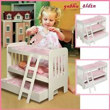Doll Bunk Beds 18 Dolls Wooden MDF American Girl Furniture Bunkbed w/ Bedding