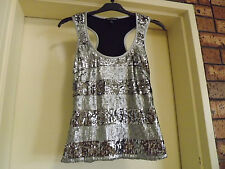 Brand New With Tags Harry Who Silver Sequinned Tank sz 10 RRP $399