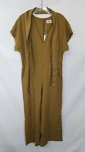 Marine Layer Unisex Belted Tan Jumpsuit Size S
